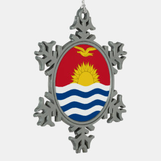 Kiribati Flag Snowflake Pewter Christmas Ornament