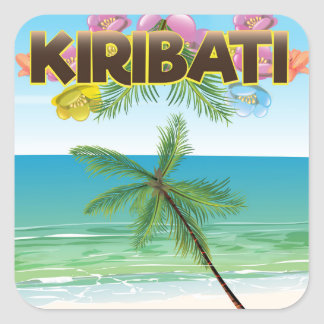 Kiribati Island travel poster Square Sticker