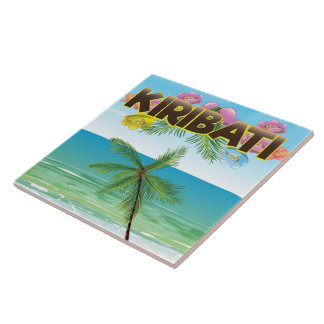 Kiribati Island travel poster Tiles