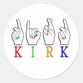 KIRK ASL FINGERSPELLED NAME SIGN DEAF CLASSIC ROUND STICKER