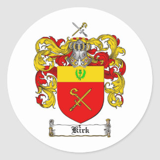 KIRK FAMILY CREST -  KIRK COAT OF ARMS ROUND STICKER