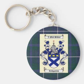 Kirkpatrick Crest on Douglas Blue Tartan Basic Round Button Keychain
