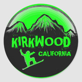 Kirkwood California green snowboard stickers
