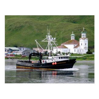 Kirsten Marie passing the City of Unalaska, Alaska Postcard