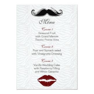 kiss and mustache zebra stripes wedding menu card