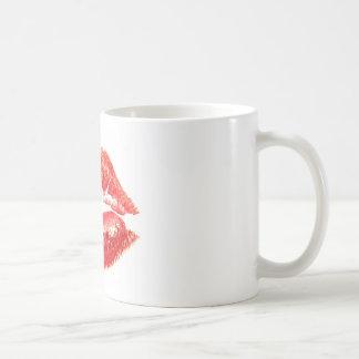 Kiss by woman's red lips mugs