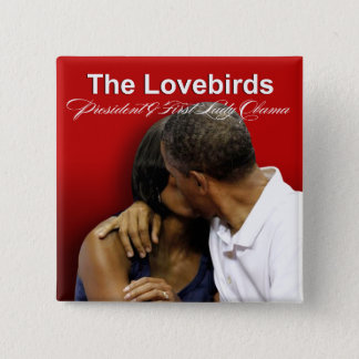 KISS CAM Lovebirds President & First Lady Obama 2 Inch Square Button