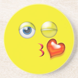 Kiss Heart Emoji Coaster