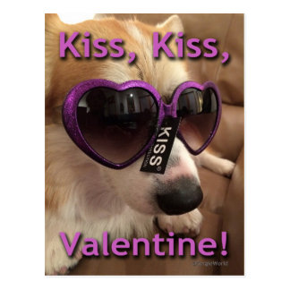 Kiss Kiss Valentine Corgi Postcard