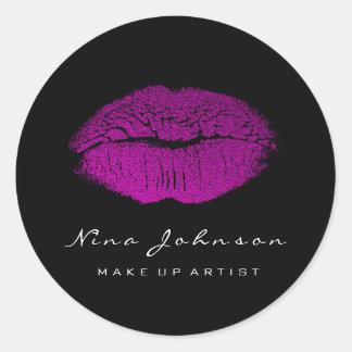 Kiss Lips Makeup Artist Fuchsia Pink Lipstick Classic Round Sticker