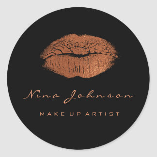 Kiss Lips  Makeup Beauty Black Copper Rose Gold Classic Round Sticker