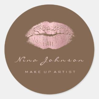 Kiss Lips  Makeup Beauty Bronze Pink Rose Lipstik Classic Round Sticker