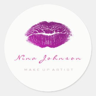 Kiss Lips  Makeup Beauty White Fuchsia Pink Classic Round Sticker