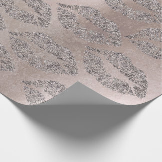 Kiss Lips Makeup Blush Rose Gray Metallic Grungy Wrapping Paper