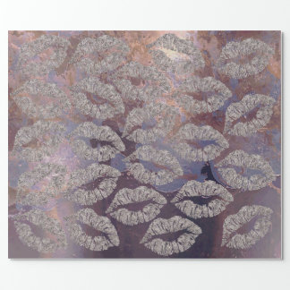 Kiss Lips Makeup Copper Purple Metallic Grungy Wrapping Paper