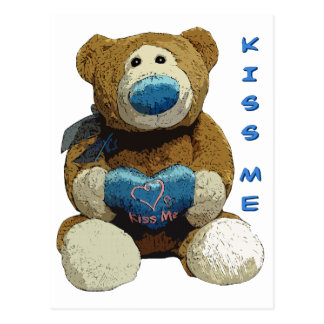 KISS ME BEAR POSTCARD