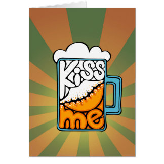 kiss me - beer icon card
