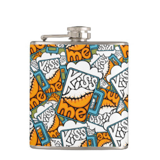 kiss me - beer icon hip flask