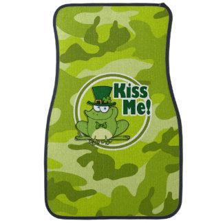 Kiss Me; bright green camo, camouflage Car Mat
