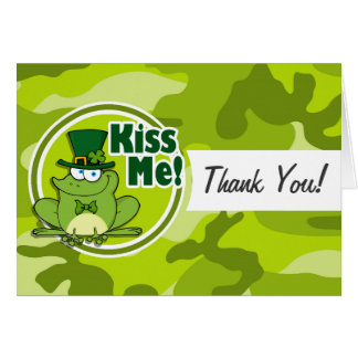Kiss Me bright green camo camouflage Cards