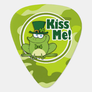 Kiss Me; bright green camo, camouflage Guitar Pick