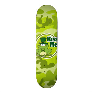 Kiss Me bright green camo camouflage Skate Deck