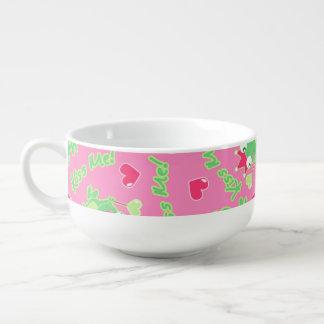 Kiss me frog soup bowl with handle