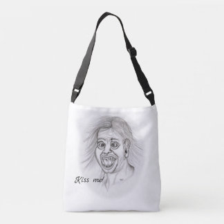Kiss me! Funny drawing black and white Design Crossbody Bag