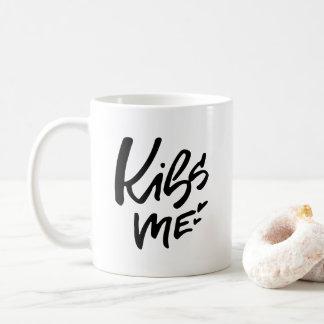 Kiss Me Hand Lettered Script Coffee Mug