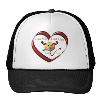 kiss me hot lip trucker hat