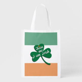 Kiss me I am Irish Reusable Grocery Bag