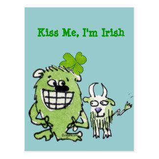 Kiss Me I m Irish Funny Cartoon Monster Postcards
