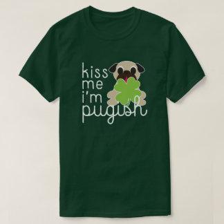 Kiss Me I'm Pugish Saint Patricks Day Pug Clover T-Shirt