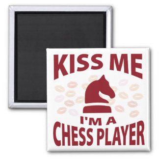 Kiss Me I'm A Chess Player Square Magnet