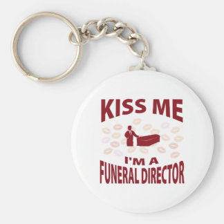 Kiss Me I'm A Funeral Director Basic Round Button Keychain