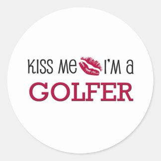 Kiss Me I'm a GOLFER Round Sticker