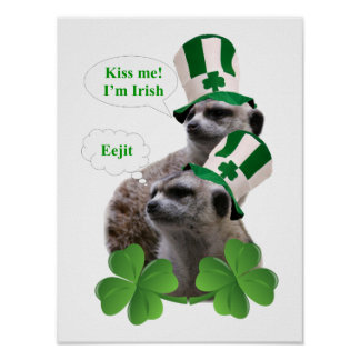 Kiss me I'm a Irish meerkat design Poster