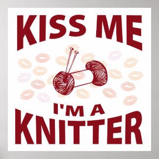 Kiss Me I'm A Knitter Poster
