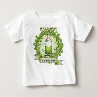 Kiss Me Im A Little Irish Funny Baby T-shirt
