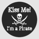 Kiss Me! I'm a Pirate Round Stickers