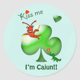 Kiss Me I'm Cajun St Patrick's Day Crawfish Classic Round Sticker