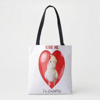 Kiss Me I'm Cockatiel tote bag !