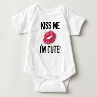 Kiss me I'm cute baby outfit lips Baby Bodysuit