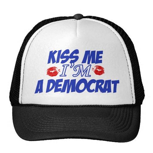 Kiss me I'm democrat Mesh Hats