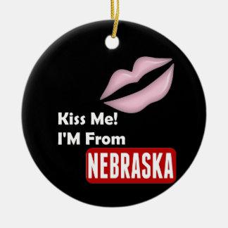 Kiss Me, I'M From Nebraska Round Ceramic Ornament