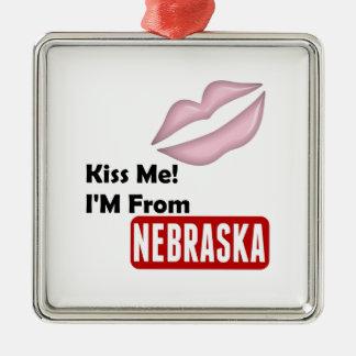 Kiss Me, I'M From Nebraska Silver-Colored Square Ornament