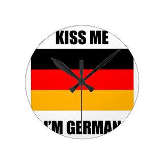 Kiss Me I'm German Round Clock