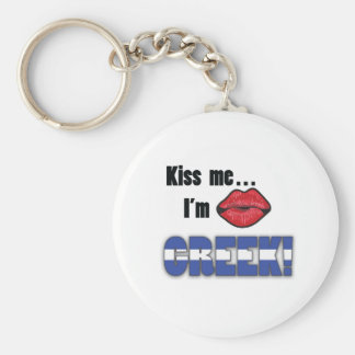 Kiss Me I'm Greek Basic Round Button Keychain
