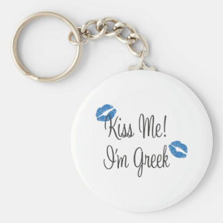 Kiss Me! I'm Greek Basic Round Button Keychain