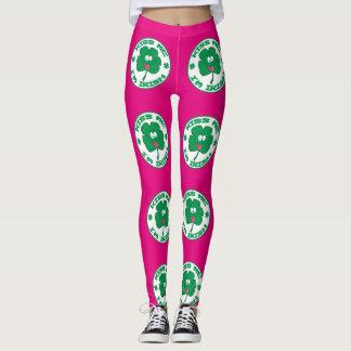 Kiss Me Im Irish Clover Design  Leggings